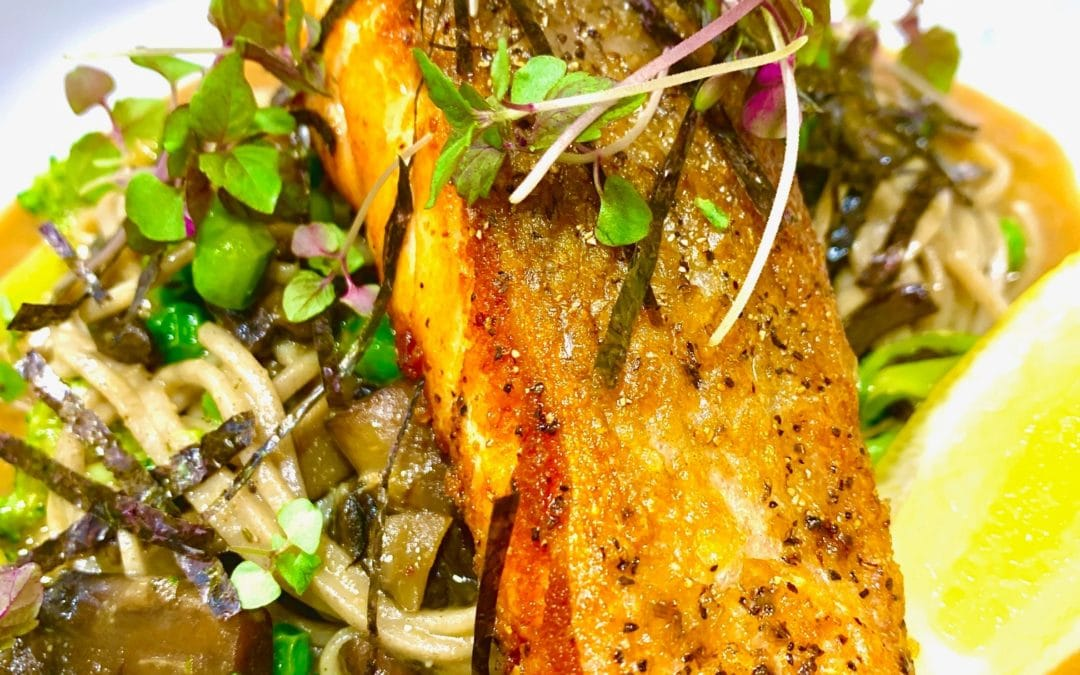 Crispy skin Salmon on Soba Noodles & Miso Broth with microgreens